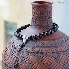 Крупные буддийские четки-<b>браслет</b> из <b>гагата</b> 27 бусин с серебром
