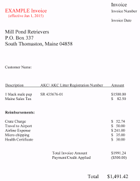 mill pond retrievers sample invoice