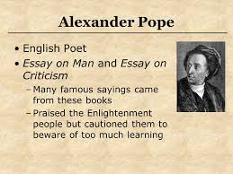 NOTES  An Essay on Criticism by Alexander Pope Etusivu an essay on man