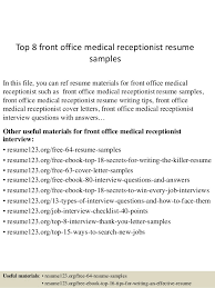 top 8 front office medical receptionist resume samples 1 638jpgcb1438223302 receptionist sample resume