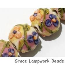 Grace Lampwork <b>Beads</b> 11005812 - Four Purple w/Orange <b>Flora</b> ...