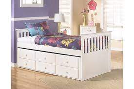 girls trundle beds in white with large pull out underbed storage drawers and twin mattress frame ashley leo twin bedroom set