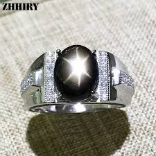 <b>Genuine</b> Natural Star Sapphire Men Ring <b>925</b> Sterling <b>Silver Real</b> ...