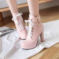 <b>2019 Autumn High</b> Heels <b>Platform</b> Lace up Ankle Boots Ladies ...