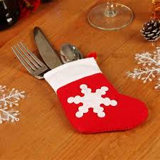 household dining table set christmas snowman knife: pcs christmas decor pretty snowflake pattern xmas sock tableware cutlery bags dining table decorations fork pocket