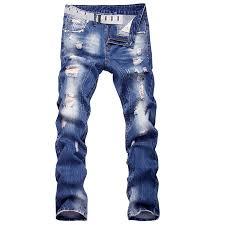 Hemiks - <b>Men Stylish Ripped Jeans</b> Pants Biker Classic Skinny Slim ...