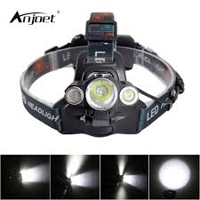 anjoet fishing lamp 3 t6 bicycle headlamp 30w headlight torch xml t6 searchlight led head lights with 18650 battery charge