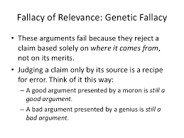 Image result for genetic fallacy examples