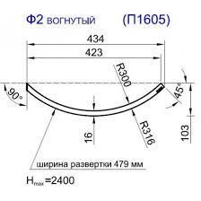 <b>Фасад радиусный</b> глухой R300-18, <b>вогнутый</b>, высота 916 ...