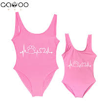 <b>Mom Baby Swimwear One</b> Piece Swimsuit ECG Bear Foot Print ...