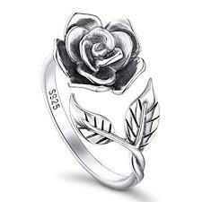 DAOCHONG <b>S925 Sterling Silver</b> Women's Open Rings Rose ...