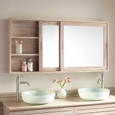 sliding bathroom mirror: quot wulan teak medicine cabinet with mirror medicine cabinets bathroom