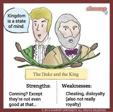 the duke and the king in adventures of huckleberry finn click the character infographic to