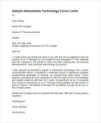 sample information technology cover letter template sample technology cover letter