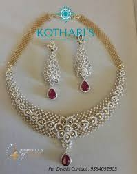 Diamond <b>necklace embossed</b> iwth diamonds and red stone in drop ...