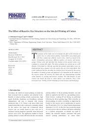 (PDF) The Effect of Reactive <b>Dye</b> Structure on the Ink-Jet <b>Printing</b> of ...