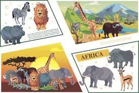 Cartoon African Safari Concept With <b>Zebra</b> Lion Hippo <b>Giraffe</b> ...