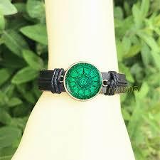 <b>Vintage Compass</b> Green men's <b>Bangle</b> 20 mm Glass Cabochon ...