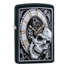 <b>Зажигалка ZIPPO Skull Clock</b> с покрытием Black Matte, чёрная ...
