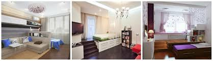 living room with bed:  bright bedroom with a living room interior
