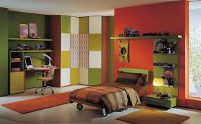 enchanting contemporary boys bedroom ideas with orange and green accent wall color furnished with single bed apply brilliant office decorating ideas