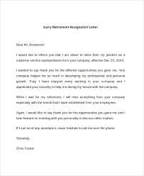 early retirement resignation letter resignation retirement letter