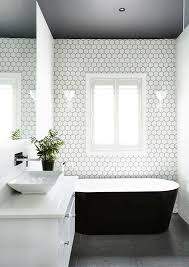 black white bathroom ideas ll the dark ceiling was inspired by a project on the block it