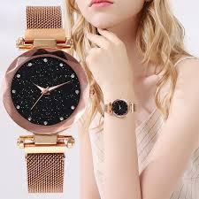 <b>Best Selling Women</b> Mesh Magnet <b>Buckle</b> Starry Sky Watch Casual ...
