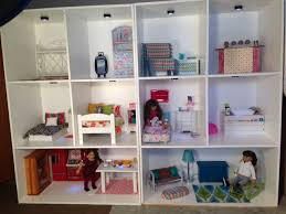 DIY  American Girl Doll House  This is the way I had it set up for them on Christmas morning  Many of the items are hand made or repurposed  The area rug in the living room is actually