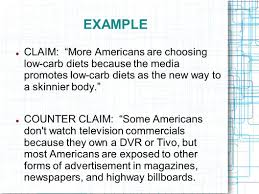 "what is a claim in an argumentative essay argumentative claims the argumentative essay introducing argument the counterclaim example claim ""more americans are choosing low carb"