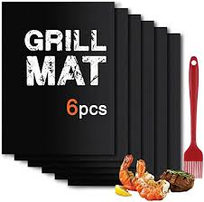 BBQ <b>Grill Mat</b> Set of (6+1) - <b>Non Stick</b> Oven Liner <b>Teflon</b> Cooking Mats
