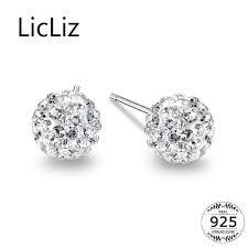 2019 <b>LicLiz 925 Sterling Silver</b> Ball Stud Earrings For Women Ear ...