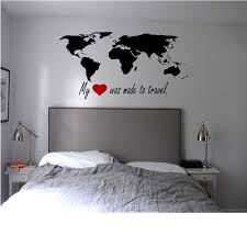 My heart was made to travel World Map and Quote Wall Decal | World ... via Relatably.com