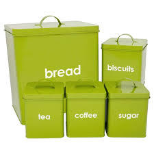 Green Kitchen Canister Set 5 Piece Kitchen Storage Set Includes Bread Bin Biscuit Tea Coffee