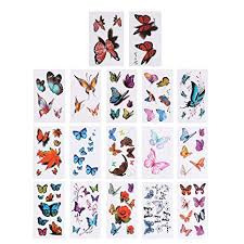 Toyvian 50 Sheets Butterfly 3D <b>Sticker Waterproof</b> Tattoo Set Kids ...