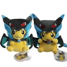 2 Style <b>Pikachu Cosplay</b> Mega Charizard X Plush Toys <b>25cm</b> ...