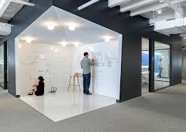 an open whiteboard area inside the office where employees can share ideas decoist awesome open office plan coordinated