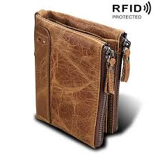 <b>Genuine Cow Leather Men</b> Wallets RFID Double Zipper Card ...