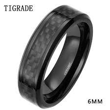<b>TIGRADE 6mm</b> 8mm Men's Black <b>Carbon Fiber</b> Inlay Ceramic Ring ...
