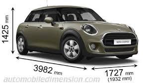 <b>Dimensions</b> of <b>MINI cars</b> showing length, <b>width</b> and height