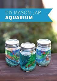 jar crafts home easy diy: mason jar aquarium cute and easy diy craft projects for kids by diy ready at