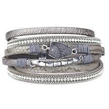 Eivanc Grey Wrap Leather Bracelet Multi-Layer ... - Amazon.com
