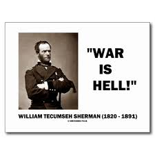 William Tecumseh Sherman War Is Hell Quote Postcard | Zazzle via Relatably.com