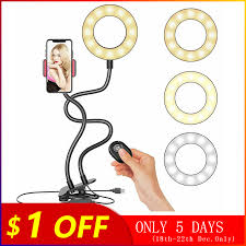 <b>2 IN 1</b> Lazy Phone Holder 3 Modes LED <b>Fill Light</b> Long Arms ...