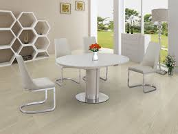 round glass extendable dining table: eclipse round oval gloss glass extending  to  cm dining table cream