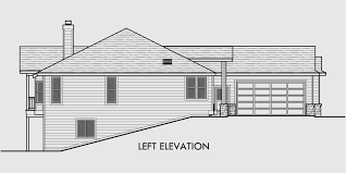 One Story House Plans  Daylight Basement House Plans  Side GarageHouse side elevation view for One story house plans  daylight basement house plans