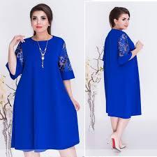 Online Shop <b>Plus Size</b> Women Clothing 2019 <b>Summer</b> Dress Blue A ...