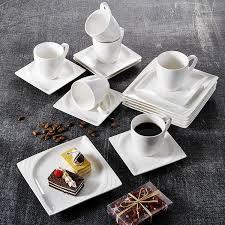 <b>Белая</b> фарфоровая <b>кофейная</b> чашка и тарелка MALACASA Flora ...