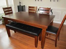 Black Leather Dining Room Chairs Chairs Dining Room Furniture Brown Stained Wooden Bench With Black