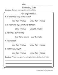 Telling Time Worksheets - Have Fun TeachingEstimation Worksheet 2